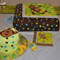 Monkey Theme Birthday Cake This cake was for a baby's 1st birthday.