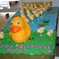 Ducky Cake & Cake Pops   Rubber Ducky cake and 39 ducky cake pops for a little girls 1st bday