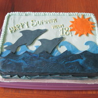 Happy Summer - Last Day Of School Party Cake 9x13 sheet cake for 4th grade classroom party on the last day of school. Modeling chocolate/candy clay dolphins, waves and sun.