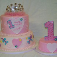 Princess First Birthday Cake   Cake is buttercream with fondant details