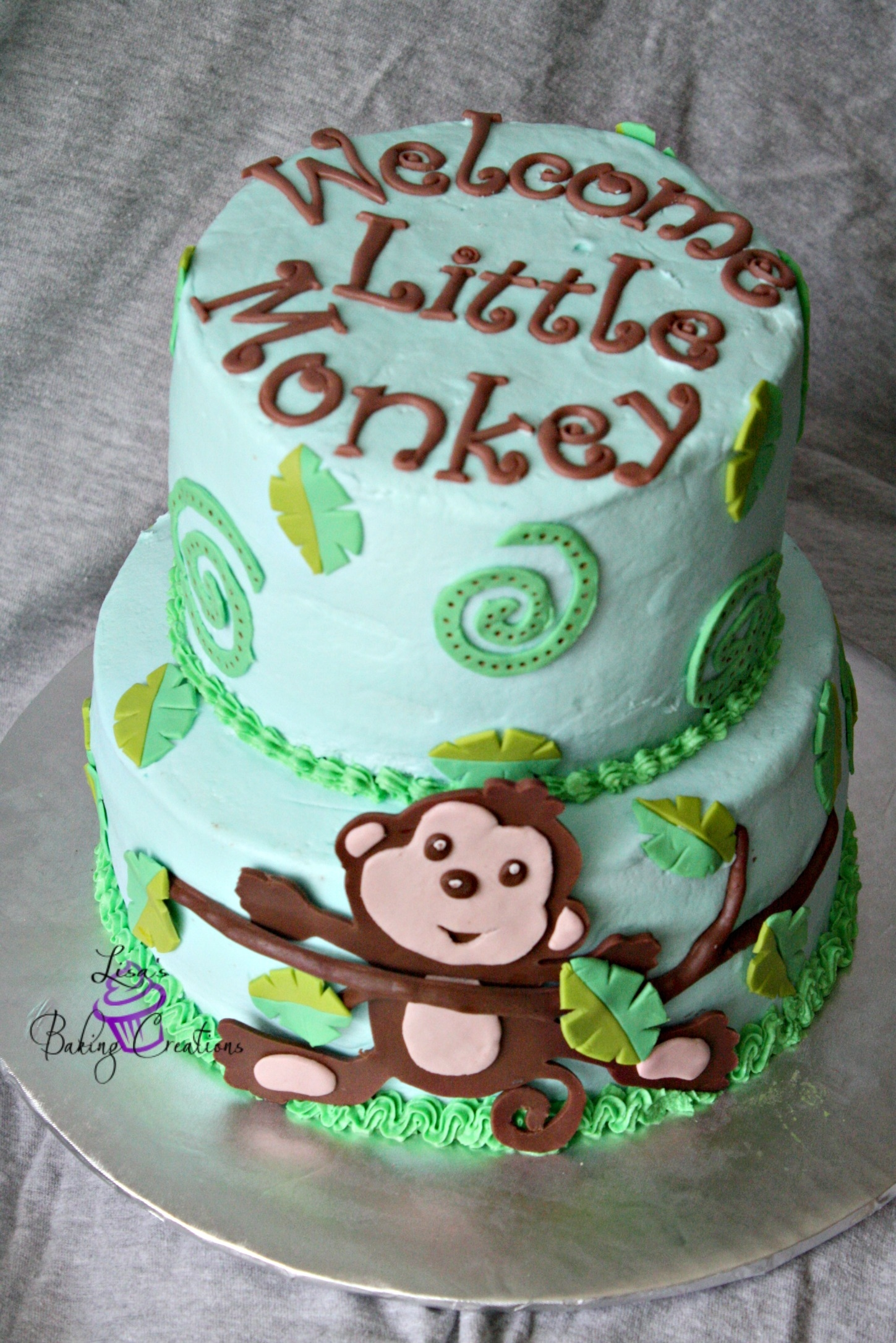 Monkey Themed Baby Shower Cake Monkey themed baby shower cake
