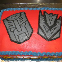Transformer Birthday Cake A quick transformers cake for my sister's best friend. buttercream and fbct.