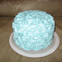 Susan's Cake Aqua vanilla buttercream on vanilla cake. Playing with a new technique. Forgot the greaseproof cakeboard on this one. : (