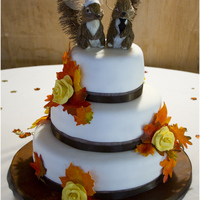 Fall Leaves Themed Wedding Cake The bride wanted a fall feel to the cake. I wish she would have chosen pine cones or acorns instead of roses, but all in all I think it...