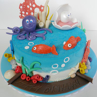 Sea Theme   lemon and orange citrus cake, pineapple and passion fruit filling, buttercream iced, hand made sea themes decoration.