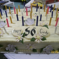 50 Candles   floral cake with enough room to fit 50 candles...take a deep breath!