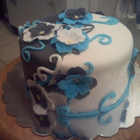 Bridal Shower   Black/White & Blue bridal shower cake