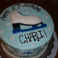Ice Skate Cherry Almond cake and butter cream. The birthday girl HATES fondant, so skate is made of butter cream.