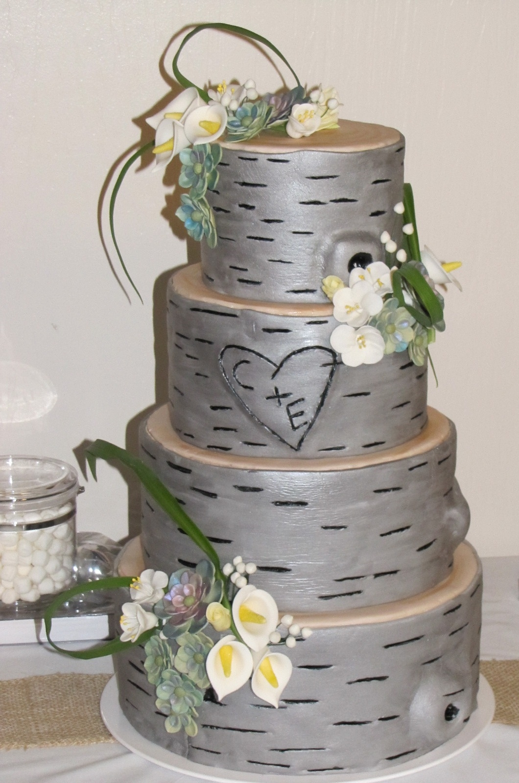 A Bride Brought Me A Picture Of A Birch Tree Cake On Pinterest I Tried To Replicate It This Is What I Came Up With It Is Decorated In Fon  A bride brought me a picture of a birch tree cake on pinterest. I tried to replicate it. This is what I came up with. It is decorated in...