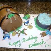 "Keg Cake Keg cake- Just a ""for fun"" cake for a friend's birthday. Group of women got together & all made themselves & their..."