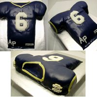 "Notre Dame College Jersey Groom's Cake/birthday Cake  My niece asked me to make a ""surprise"" college jersey cake as a surprise Groom's/Birthday cake for her now-hubby.Added..."