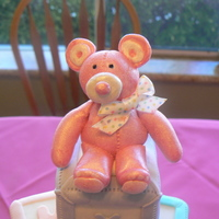 Pink Baby Bear Blocks   Bear made form fondant/ gumpaste and pink luster dust. Blocks are wood covered in fondant.