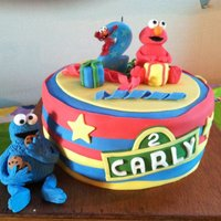Sesame Street Cake Elmo and Cookie Monster are made from fondant. My niece loved it!