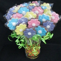 Sugar Cookie Bouquet Chocolate and vanilla sugar cookies iced with royal icing.