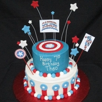 Captain America Cake Two layer chocolate cake iced in buttercream with fondant accents.