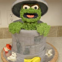 Oscar The Grouch   My son wanted Oscar the Grouch for his birthday cake...I just chuckled because he is 15! He liked it so that was what is most important