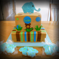 Elephant Blue And Green Baby Shower Cake And Cookies