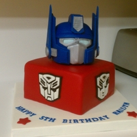 Optimus Prime Transformer Cake Optimus is rkt covered in a fondant/gumpaste mixture. Funny story...I was drying the side pieces in the oven and Hubby preheated the oven...
