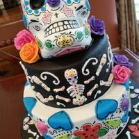 Day Of The Dead Cake With Fondant And Gumpaste Decorations Day of the dead cake with fondant and gumpaste decorations.