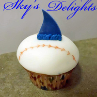 "Shark Baseball Cupcake Baseball cupcake for team ""Sharks"""