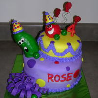 Veggietales Cake This is for a little girl named Rose's 4th birthday. She loves the Veggietales. Both Bob the tomato and Larry the cucumber are made of...