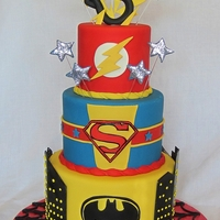 "Superhero Cake Ideas compiled from several cake photos the customer found online. Cake sizes are 8""/6""/4""."
