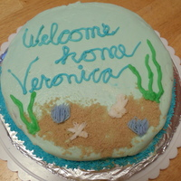 Welcome Home! My second cake ever, made as a welcome home gift for a friend who had just taken a marine biology course at the state univeristy.