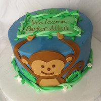 Baby Shower Cake With A Monkey Theme Buttercream With Fondant Accents Chocolate Mud Cake With Caramel Cream Cheese Filling Baby shower cake with a monkey theme. Buttercream with fondant accents. Chocolate mud cake with caramel cream cheese filling.