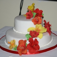 Hibiscus Wedding Cake This sweet wedding cake was for my brother. With gumpaste hibiscus flowers and white fondant.