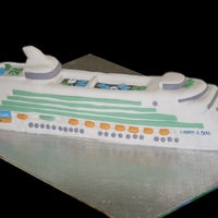 Cruise Ship For my mum and dad's 60th birthday. We were going on a cruise. White cake with fondant.