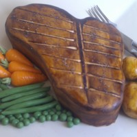 T-Bone Steak With Fondant Vegetables Chocolate biscuit cake