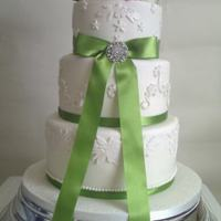 Lime Green And Pink Wedding Cake flavours rich fruitcake, luscious lemon and vanilla sponge