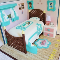 Girls Bedroom Cake With Backdrop   Girl's bedroom cake with backdrop