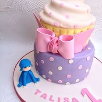 Pocoyo Polka Dots Giant Cupcake Pink Cream Lilac Yellow   Pocoyo, polka dots, giant cupcake, pink, cream, lilac, yellow