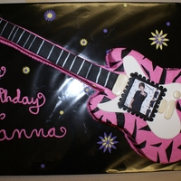 Pink Zebra Guitar Cake BUTTERCREAM, FRENCH VANILLA CAKE WITH FONDANT DECORATIONS WITH JUSTIN BIEBER