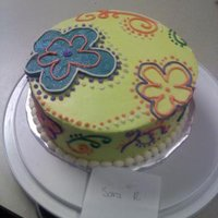 Flower Power  I made this for a cake decorating contest at work for the kids. Vanilla cake, vanilla frosting, all from scratch, and designs all free...