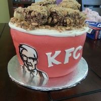 Kfc Bucket Of Chicken My niece requested a bucket of chicken cake for her 16th birthday. Marble Cake, Cream Cheese Icing. Hand painted Colonel Sanders. Chicken...