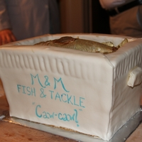 Fish Cooler Groom's Cake My brother-in-law called and said for his groom's cake all he wanted was a small mouth bass... to feed 60 people, heh. This is what we...