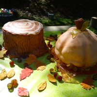Fall Themed Birthday Cake I made this for me and my brother for our September birthdays. Tree stump is strawberry cake with rolled buttercream, and the pumpkin cake...