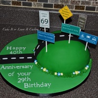 Over The Hill Birthday Cake All Signs Were Done With Edible Images The Big Joke Was That His 69Th Birthday Was The 40Th Anniversary Of Over the Hill birthday cake :) All signs were done with edible images. The big joke was that his 69th birthday was the 40th anniversary of...