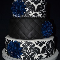 Navy And Black Wedding Cake With Dahlias