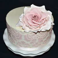Large Rose Stencilled Cake April 2013Jpg