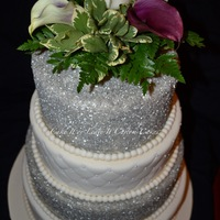 Ivory And Silver Wedding Cake
