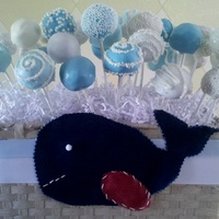 Baby Shower Cake Pops Red velvet and vanilla cake balls! The whale I made to match the pattern in the babys room.