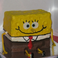 Sponge Bob Square Pants Cake covered in buttercream. A little off on proportions, but still thought it turned out cute.