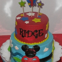 Mickey Mouse Clubhouse For Ridge Snickerdoodle cake with white chocolate buttercream.