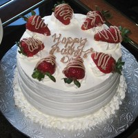 Fathers Day Cake Cake I made for my dad...Chocolate cake layered with chocolate ganache and fresh strawberries. TFL