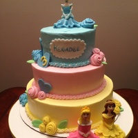 Disney Princess Tiered Cake I borrowed this design but made it buttercream. Princesses were made of a fondant gumpaste mixture.