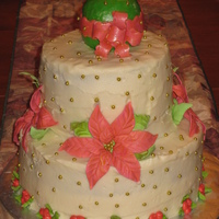 Poinsettia With X-Mas Ball family xmas cake butter cream icing with fondant/ gumpast accents