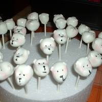 Polar Bear Cakepops   Chocolate cake pops shaped and decorated to become little rosy cheeked Polar bears- excuse the blurry photo!!